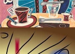 Edition 12 - «Coffein» Gemälde Jacqueline Ditt «The Stroke» Grafik Mario Strack