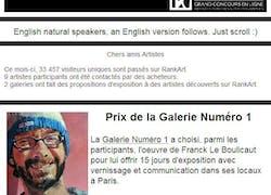 Lauréat du concours «RankArt» et «Galerie Numéro 1»