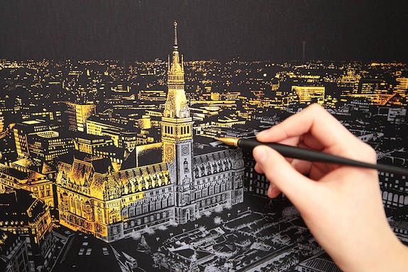 A scratchboard that allows you to reveal beautiful nightscapes