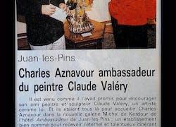 Charles Aznavour ambassadeur du peintre Claude Valéry