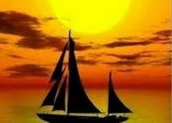 Bateau et coucher de soleil
