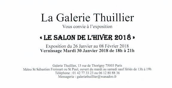 Ma prochaine exposition au salon de l'hiver - Galerie Thuillier - Paris (du 26 j