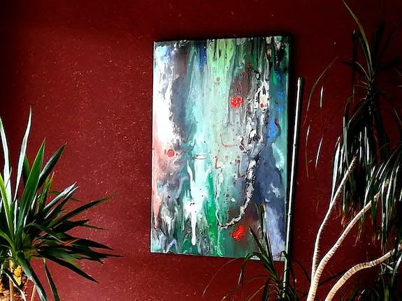 Exposition de tableaux peinture acrylique et huile, technique mixte, encre.