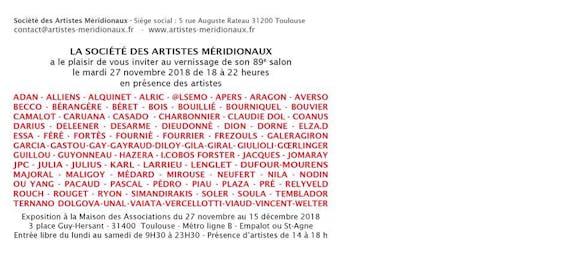 89E Salon des Artistes Méridionaux invitation
