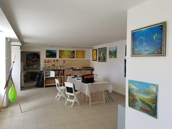 Cours de peinture en atelier. Région finistère -Penmarch