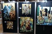 Mon panneau d'ouvres exposées au Salon international de St Tropez