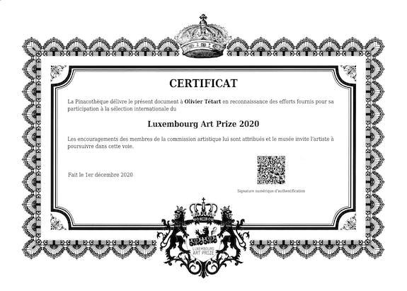 Diplôme du Luxembourg Art Prize 2020
