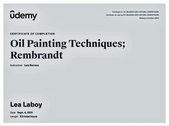 Lea Laboy; Certificate of completion: Oil Painting Techniques; Rembrandt